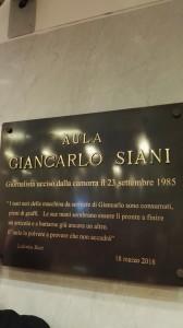 """Targa """"Giancarlo Siani"""" - Consiglio Regionale della Campania"""